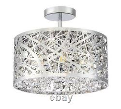 Silver/Polished Chrome with Crystals 5 Light Indoor Semi Flush Light