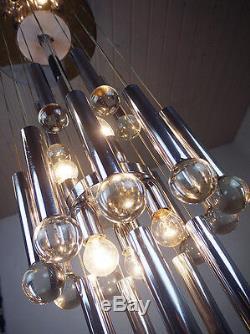 Stunning GAETANO SCIOLARI FLUSHMOUNT Crystal Balls Chandelier Italy 1970s