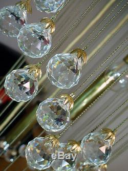 Stunning huge SPIRAL CHANDELIER Crystal Balls Flushmount by ERNST PALME 1960s