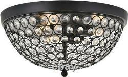 Taye Flush-mount Light Fixture Mid-century Modern 3-light Clear Matte Blac