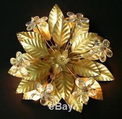 VINTAGE 60's GILT FLUSH MOUNT CEILING LIGHT LEAVES & CRYSTAL PRISMS FLOWERS # 4