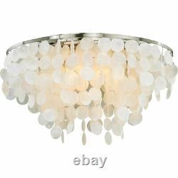 Vaxcel 5 Light Elsa Capiz Shell Satin Nickel Flush Mount Ceiling Lamp Sale C0118