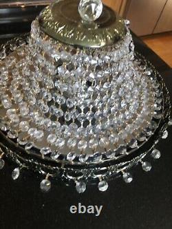 Vintage 14 Diameter Crystal Flush Mount Chandelier Light Fixture Brass