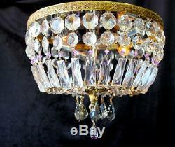 Vintage 14 x 11 Brass Crystal Flush Basket Chandelier, Amethyst, Grey Accents
