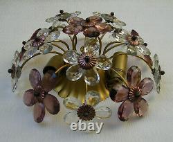 Vintage Bagues / Banci Crystal Prisms Flowers Flush Mount Ceiling Light Fixture