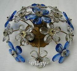 Vintage Bagues Or Banci Crystal Prisms Flowers Flush Mount Ceiling Light Fixture
