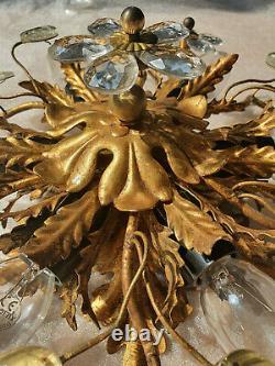 Vintage Banci Firenze Crystal Flower, Florentine Flush Mount, Deckenleuchte
