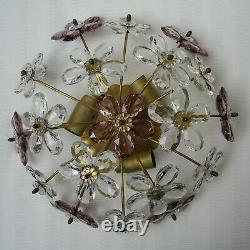 Vintage Banci Or Bagues Crystal Prisms Flowers Flush Mount Ceiling Light Fixture