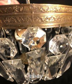 Vintage Brass Crystal Beaded Basket Chandelier Flush Mount Ceiling Light 8