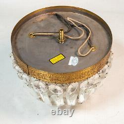 Vintage Brass Crystal Beaded Basket Chandelier Flush Mount Ceiling Light Lamp 8