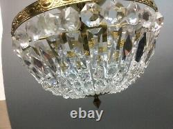 Vintage Brass Crystal Beaded Basket Flush Mount 11.5 Chandelier Ceiling Light