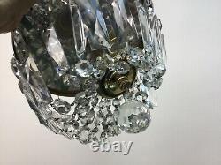Vintage Brass Crystal Beaded Basket Flush Mount 8 Chandelier Ceiling Light
