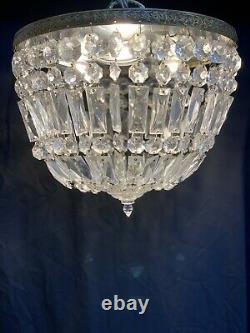 Vintage Brass Crystal Beaded Basket Flush Mount Chandelier Ceiling Light 14