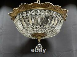 Vintage Brass Crystal Beaded Basket Flush Mount Chandelier Ceiling Light 18