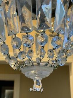 Vintage Brass Crystal Beaded Basket Flush Mount Chandelier Ceiling Light 6 1/2