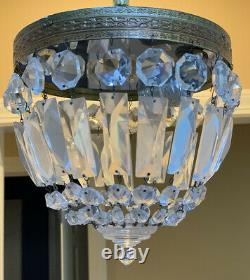 Vintage Brass Crystal Beaded Basket Flush Mount Chandelier Ceiling Light 8