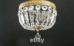 Vintage Brass Crystals Basket Flush Mount 3 Light 10 Chandelier / Ceiling Light