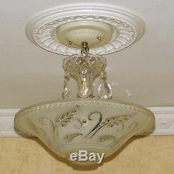 Vintage Ceiling Glass Light Lamp Fixture Chandelier Lights antique 1 of 3