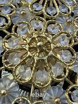 Vintage Crystal Beaded Basket Chandelier Flush Mount Flower 12 Light 17 Wide