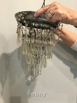Vintage Crystal Beaded Prism Tiered Flush Mount Chandelier Ceiling Light 10
