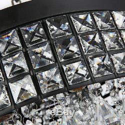 Vintage Crystal Ceiling Light Dining Room Black Chandelier Fixture Lighting 38cm