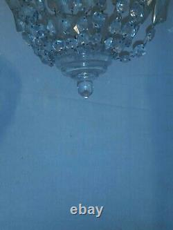 Vintage Crystal Chandelier Small Flush Mount. Possible 1930 to 60' and