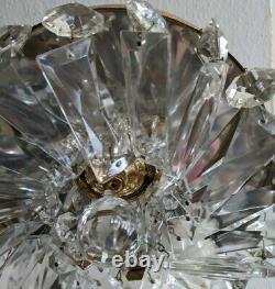 Vintage Crystal Prism Flush Mount Ceiling Light Fixture Basket