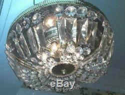 Vintage Flush Mount Crystal Prism Basket Chandelier 6 Italian Brass Style Mirror