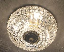 Vintage French Flush Mount Crystal Beaded Chandelier Basket Brass 18 6 Light