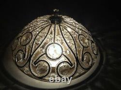 Vintage French Italian Crystal Macaroni Beaded Chandelier 3 Light Flush Mount
