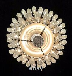 Vintage Glass Crystal Chandelier Deco Small Flush Mount Two Tier Antique WORKS