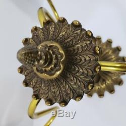 Vintage Gold Brass Flush Mount Ceiling Light 3 Arm Chandelier Crystal Glass