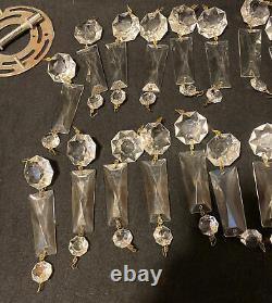 Vintage ITALIAN Brass Crystal Beaded Basket Chandelier Flush Mount Light 8