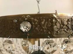 Vintage Italian Crystal Flushmount