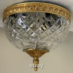 Vintage Italian Crystal Glass Brass Chandelier Flush Mount 8 Italy 3 Available