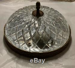 Vintage Italian Crystal Glass Brass Chandelier Flush Mount Fixture 10 3 Avail