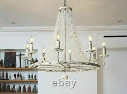 Vintage Luxury American Country White Big Led Crystal Chandelier Lamp Light Gift