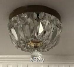 Vintage Petite Crystal Beaded Basket Flush Mount Fixture 8