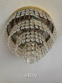 Vtg 2 Light Brass & Crystal Waterfall Chandelier Ceiling Flush Mount