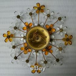 Vtg Banci / Bagues Crystal Prism Flowers Large Flush Mount Ceiling Light Fixture