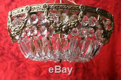 Vtg Flush Mount Crystal Strand Luster Basket Style Chandelier Ceiling Light #1