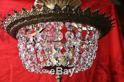 Vtg Semi Flush Mount Crystal Luster Basket Style Chandelier Ceiling Light # 1