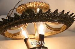 Vtg Semi Flush Mount Crystal Luster Basket Style Chandelier Ceiling Light # 2