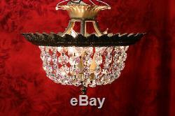 Vtg Semi Flush Mount Crystal Luster Basket Style Chandelier Ceiling Light # 3
