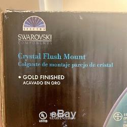 Vtg Swarovski Crystal Bel Air Lighting Spectra Flush Mount Gold Finished