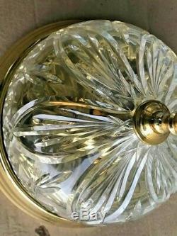 WATERFORD CRYSTAL 10 STRANGFORD GOLD Brass Flush Mount Ceiling Light Fixture