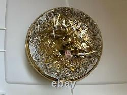 Waterford Cut Crystal Brass 10.5 Ceiling Flush Mount Light Fixture-8 Dome