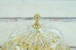 Waterford Strangford Crystal Brass Color Flush Mount Ceiling Light Fixture EUC
