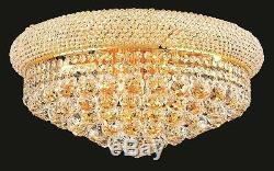 World Capital Bangle 20 10 Light Crystal Chandelier Flush Mount Light Gold