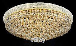 World Capital Bangle 20 Light Crystal Chandelier Flush Mount Ceiling Light Gold